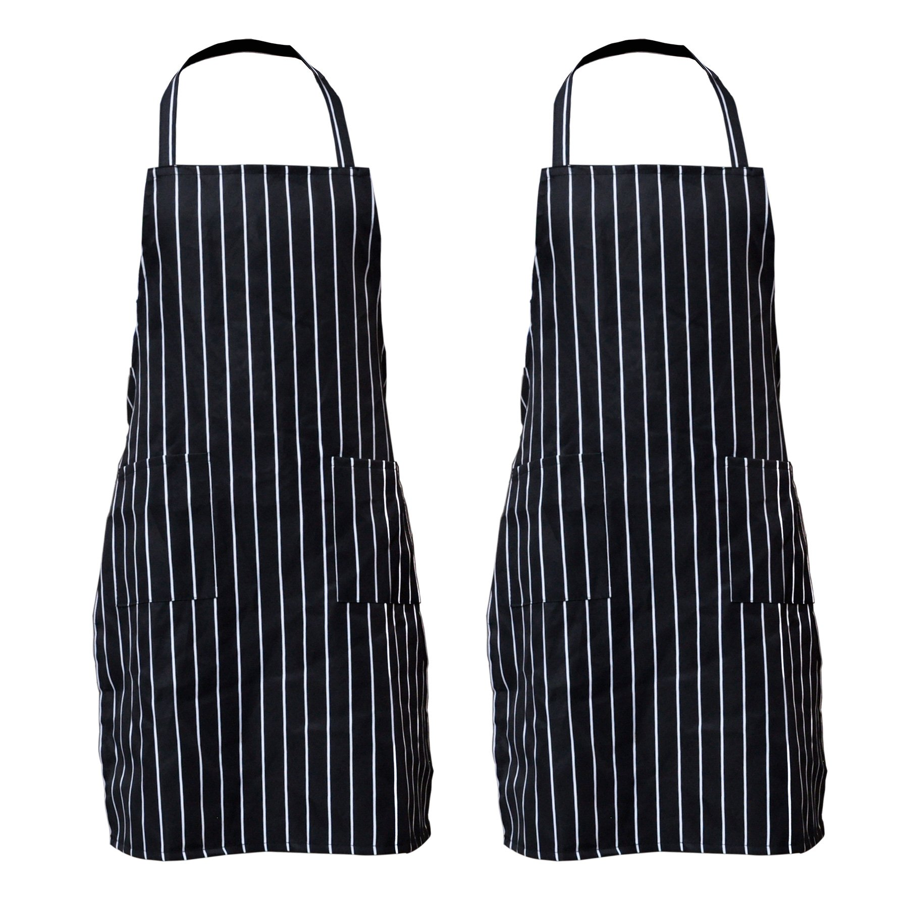 Pinfox 2 Pack Stripe Bib Apron With Pockets Black Cooking Kitchen Chef Apron Gift for Women Men - 30.3 Inch Length by 22 Inch Width