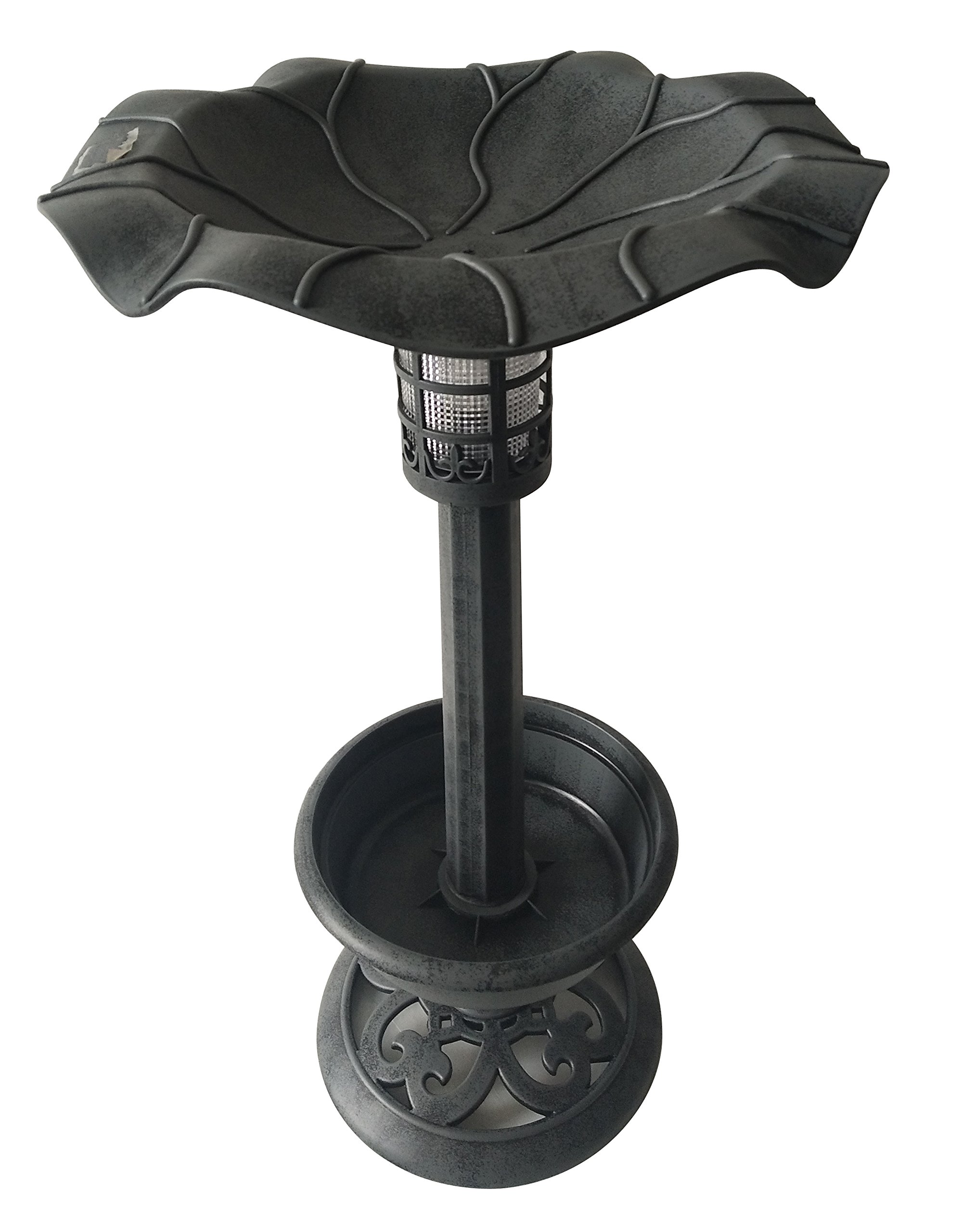Backyard Expressions 914928 Bird Bath with Solar Light, Pewter by Backyard Expressions