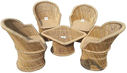 Ecowoodies Cane Outdoor Furniture Chair Table Set for Lawn, Terrace, Balcony, Garden and Living Room (4 Chairs + 1 Table)