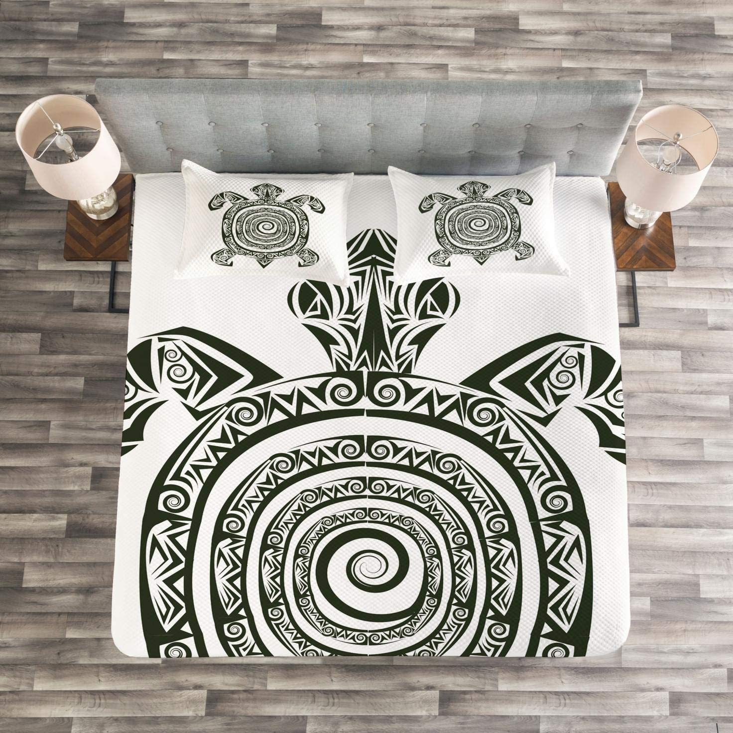 Ambesonne Greek Key Bedspread Frieze with Vintage Ornament Meander Pattern from Greece Retro Twist Lines Twin Size Decorative Quilted 2 Piece Coverlet Set with Pillow Sham Amber White