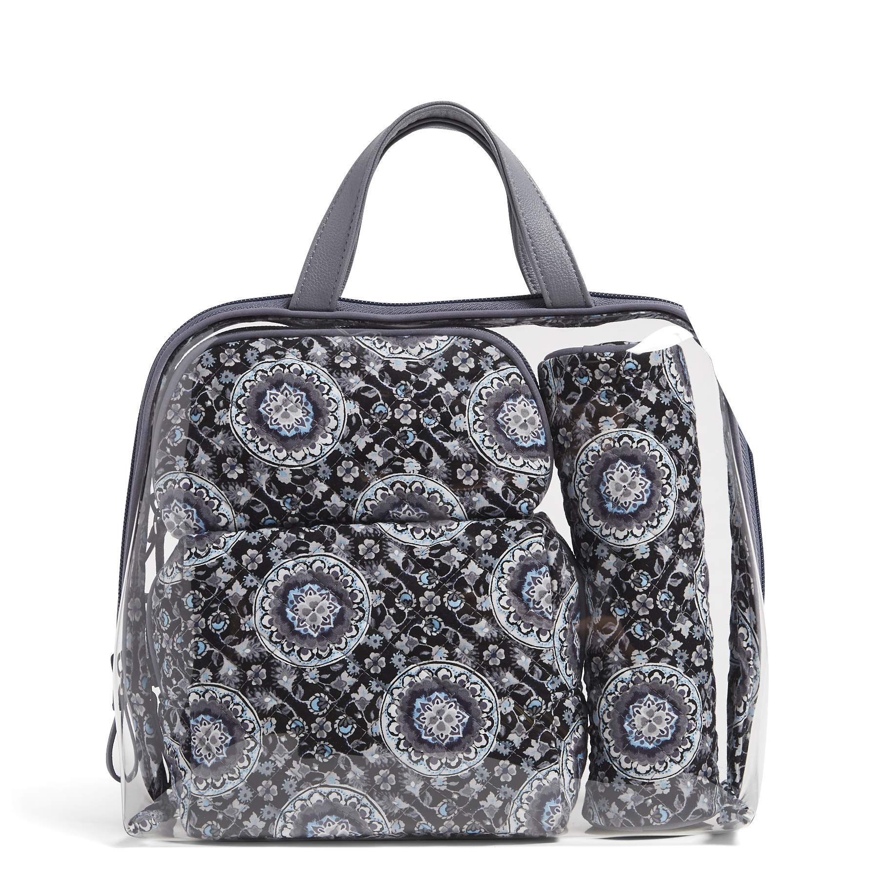 Vera Bradley Iconic 4 Pc. Cosmetic Set, Charcoal Medallion, charcoal medallion, One Size