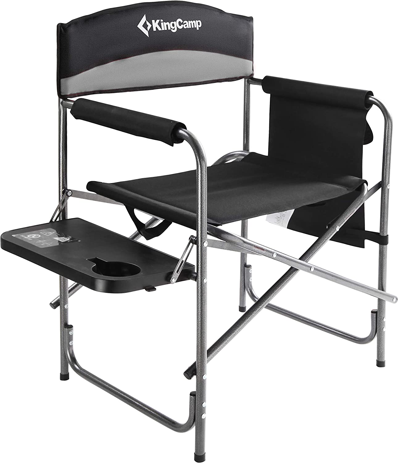 KingCamp Heavy Duty Camping Folding Director Chair Oversize Padded Seat with Side Table and Side Pockets, Supports 396 lbs (Black/Medium Grey) : Sports & Outdoors