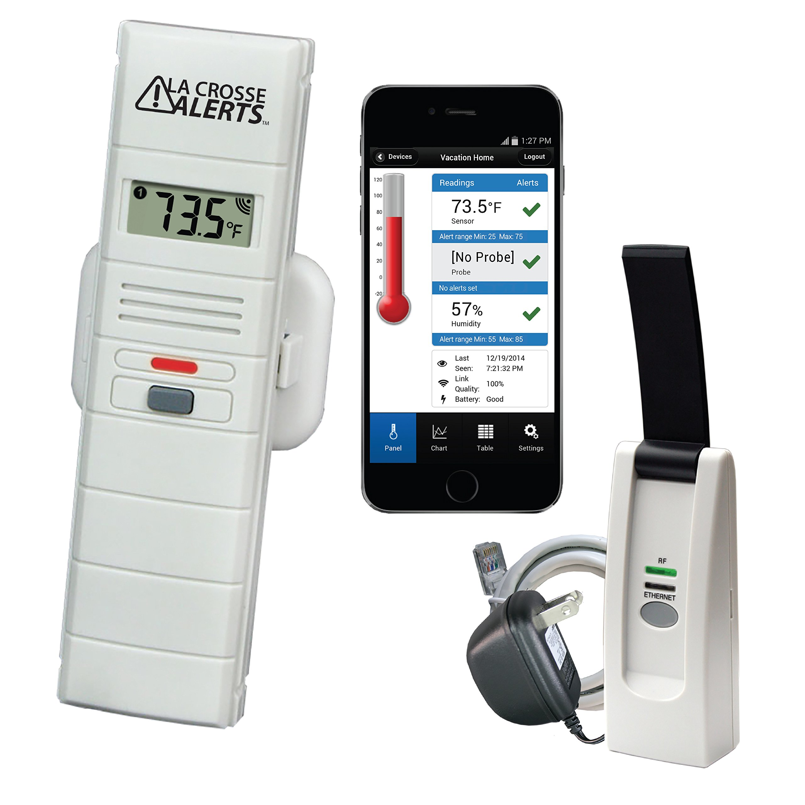 La Crosse Alerts Mobile 926-25100-WGB Wireless Monitor System with Temperature & Humidity by La Crosse Technology