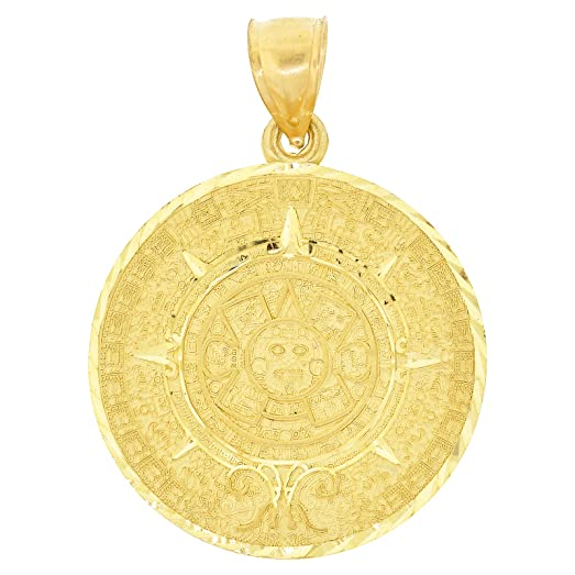 Amazon mens 10k yellow gold aztec calendar pendant 180 x mens 10k yellow gold aztec calendar pendant 180quot aloadofball Image collections