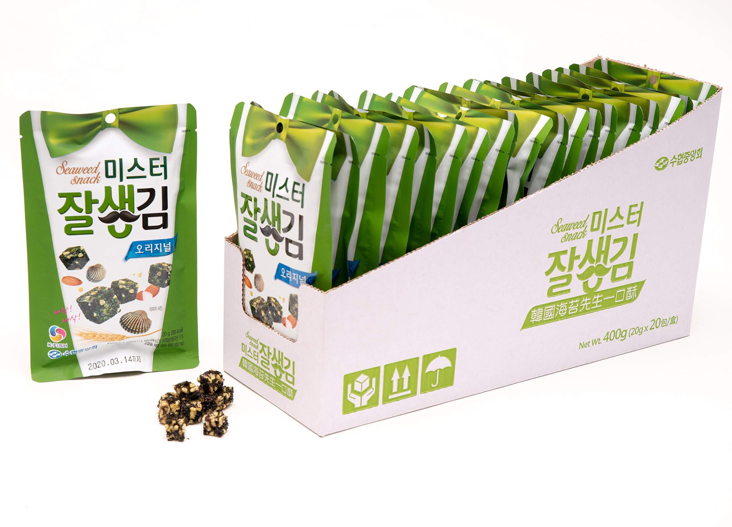 Seaweed Snacks - (20 Packs) Popular Korean Seaweed Cube Snack That's Gourmet Roasted and Lightly Salted - Unique Shape and Irresistible Taste by K Fish (Original Flavor) by K Fish