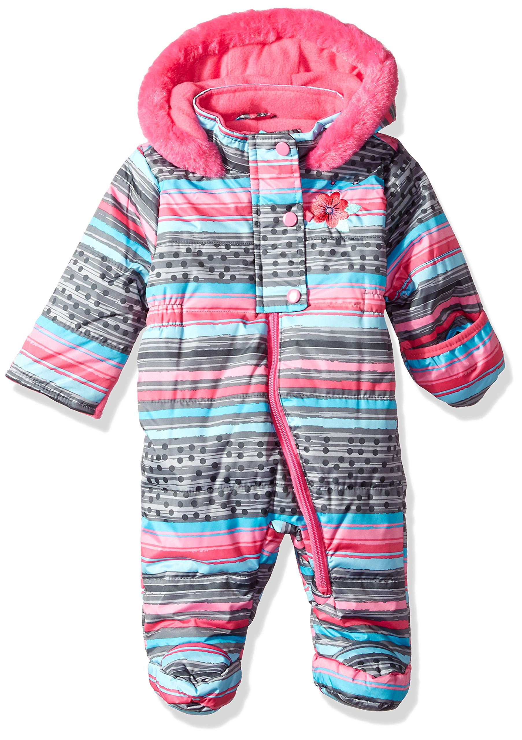Wippette Baby Girls Striped Snowsuit Pram, Charcoal, 3/6M by Wippette