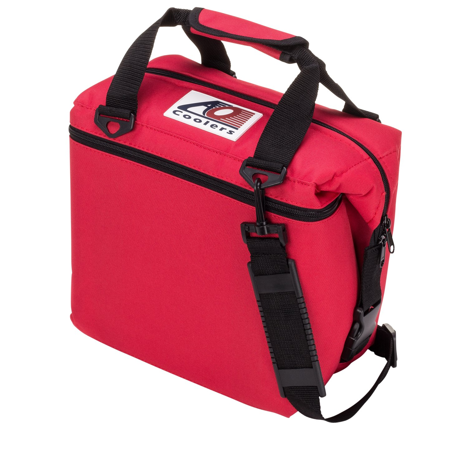 AO Coolers Canvas Soft Cooler with High-Density Insulation, Red, 12-Can