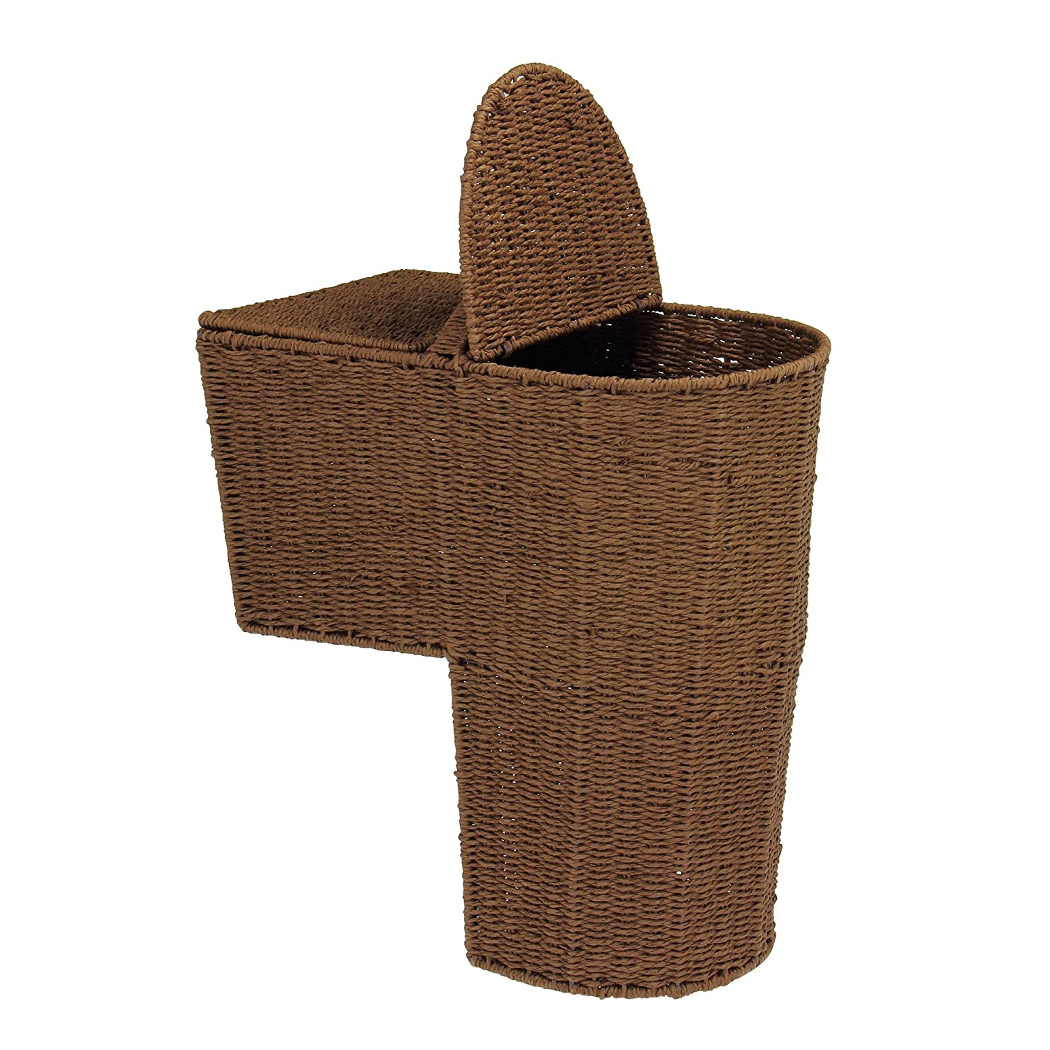 Amazing Amazon.com: Household Essentials Woven Paper Rope Lined Stairstep Basket  With Lid, Dark Brown Stain: Home U0026 Kitchen