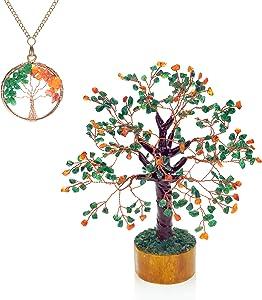 Ever Vibes Chakra Healing Crystals Money Tree with Green Jade & Carnelian Gemstone [Bonus Necklace] | Handmade Tree of Life Reiki Feng Shui Bonsai Home Décor Figurine for Spiritual Meditation