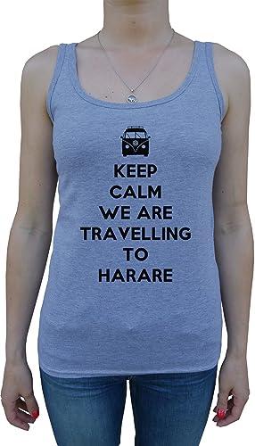 Keep Calm We Are Travelling To Harare Mujer De Tirantes Camiseta Gris Todos Los Tamaños Women's Tank...