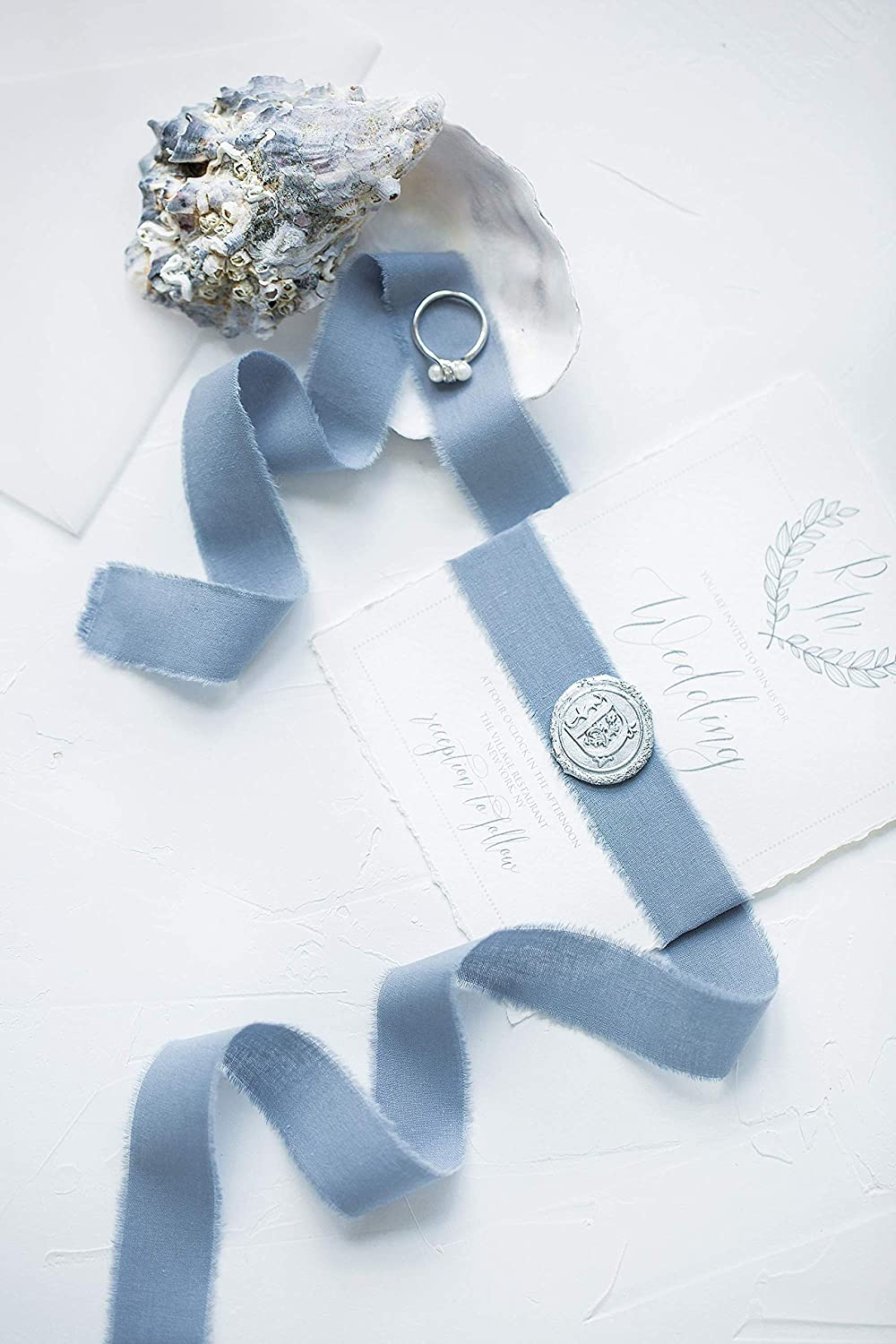 Blue Flower Hand Made Cotton Ribbon Sewing Label