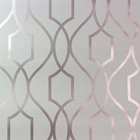 Geometric Wallpaper Metallic Shiny Rose Gold Stone Apex 3d Modern