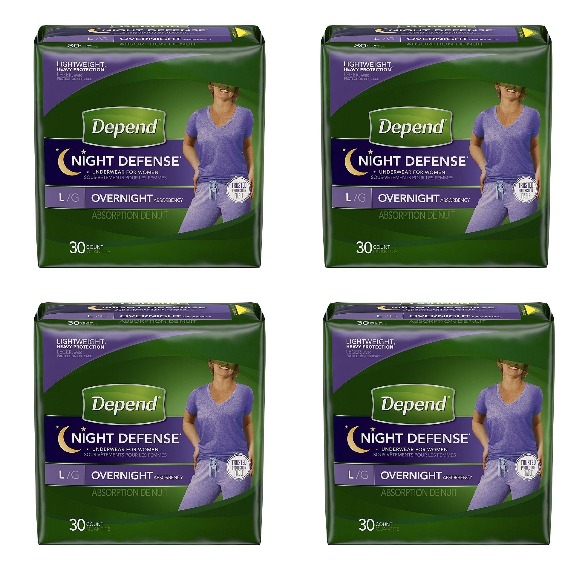 Depend Night Defense xYeNwp Incontinence Overnight Underwear for Women, Large, 30 Count (Pack of 4)