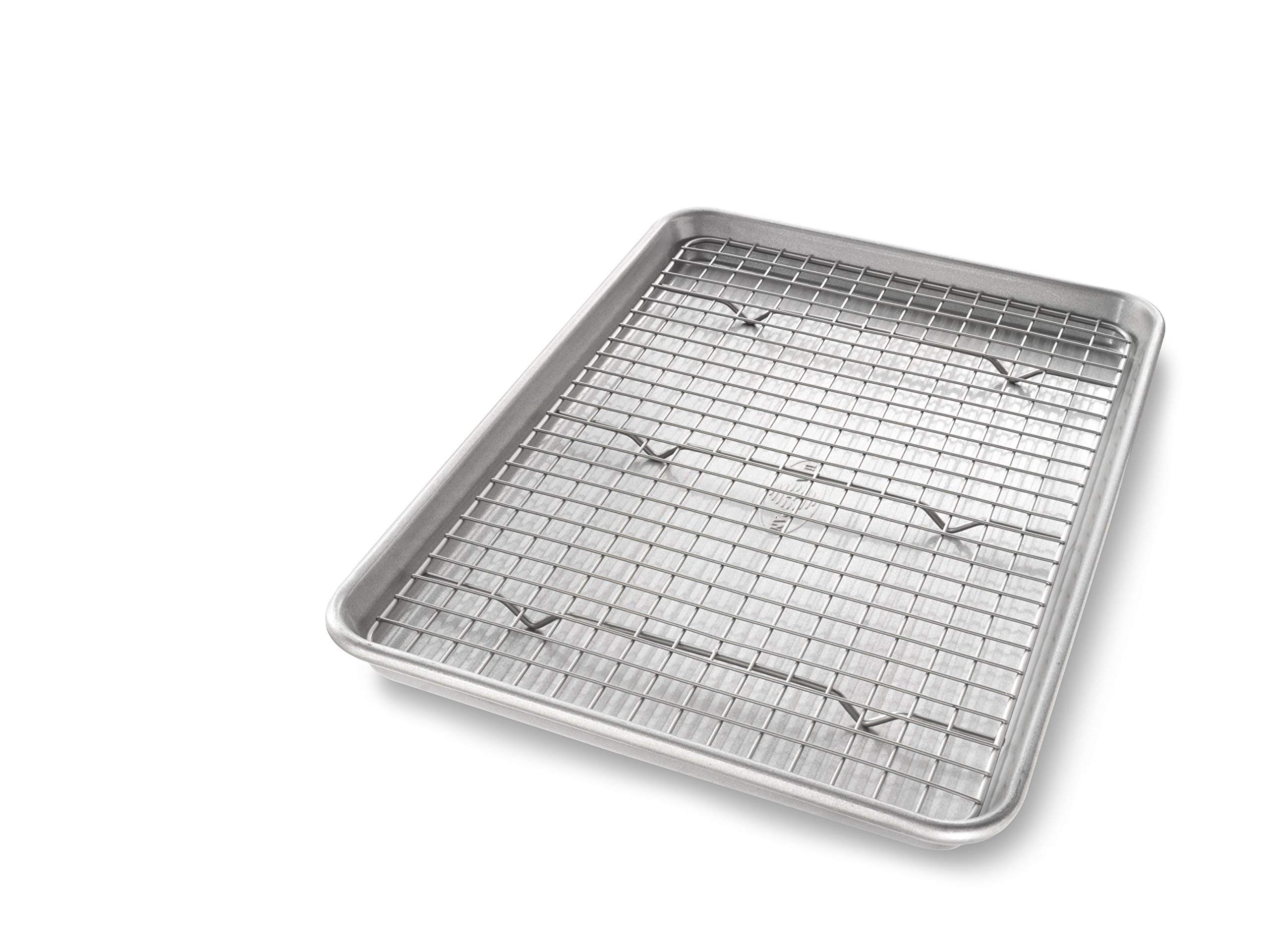 USA Pan 1605CR Jelly Roll Baking Pan and Bakeable Nonstick Cooling Rack, Metal (Renewed)