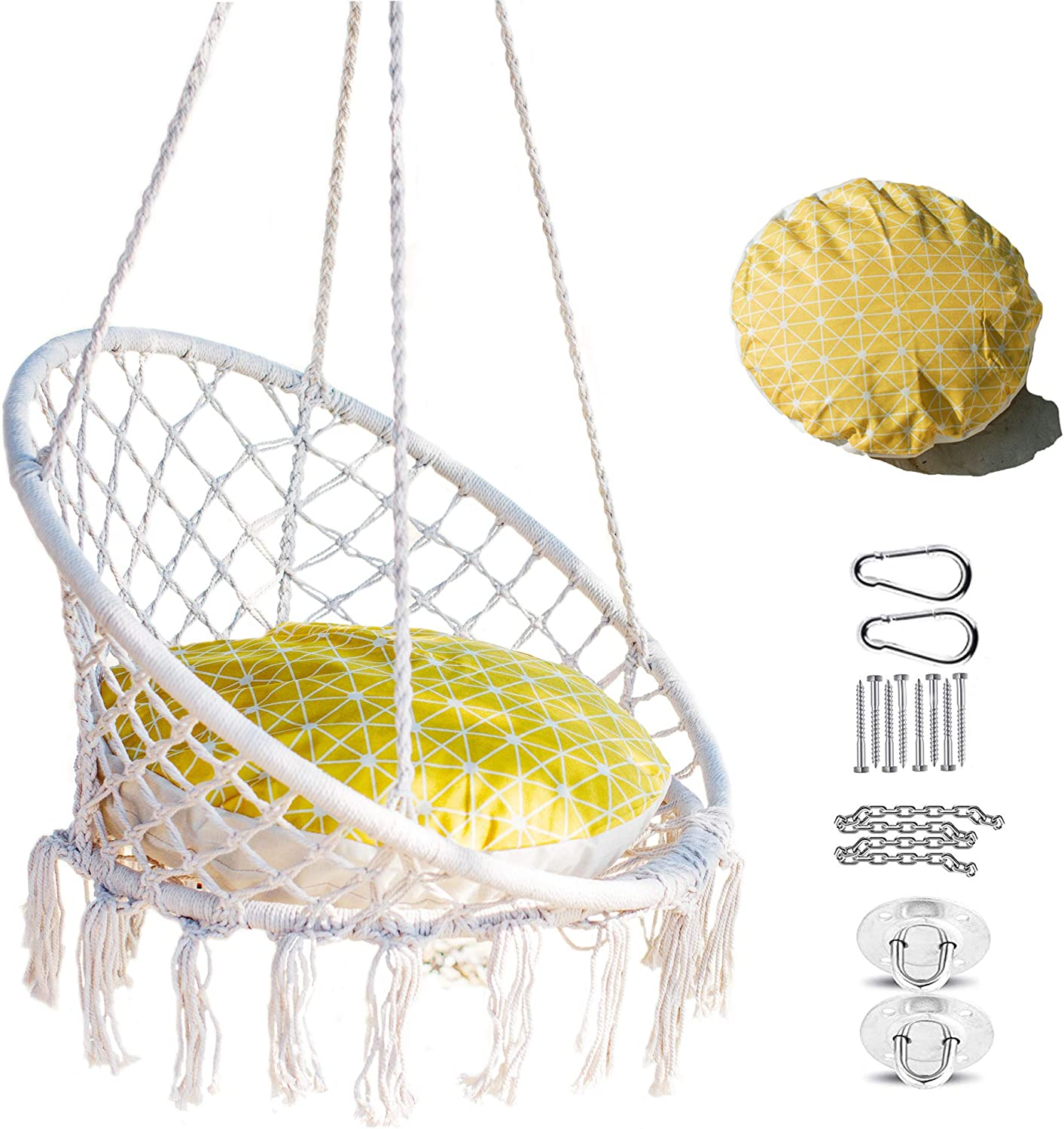 Nooksta Macrame Swinging Chair - Included Yellow Starburst Cushion & Hanging Kit for Hammock Stand. Great Hammock Chair for Bedroom, Room Swing or Hang Chair.