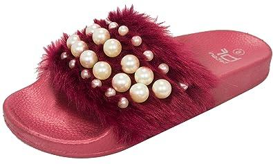 a171f706bd4 Betani Women s Embellished Faux Fur Pearl Slipper Slide Sandal (6 B(M) US