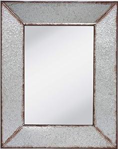 Stonebriar Rustic Rectangular Galvanized Metal Frame Hanging Wall Mirror, Silver
