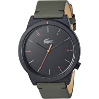 Lacoste Men's Motion Stainless Steel Quartz Watch with Leather Calfskin Strap, Green, 20 (Model: 2010991)