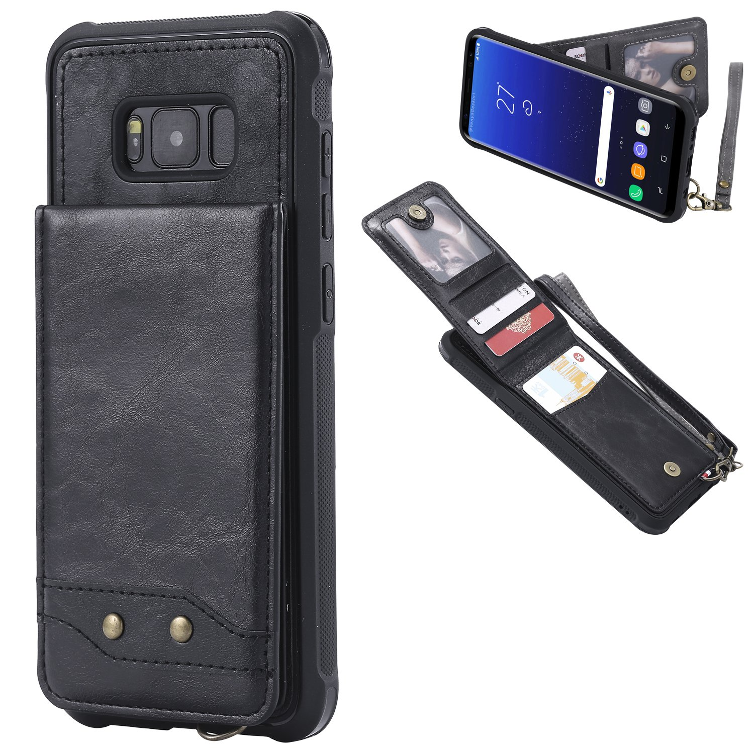 DAMONDY Galaxy S8 Plus Case, Luxury Wallet Purse Card Holders Design Cover Soft Shockproof Bumper Flip Leather Kickstand Magnetic Clasp With Wrist Strap Case for Samsung Galaxy S8 Plus-black