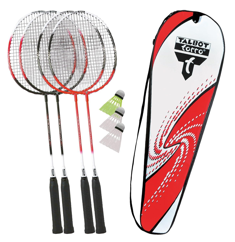 Talbot-Torro Badminton-Set 4-Attacker, 4 Schläger, 3 Federbälle, in wertiger Tasche 4 Schläger 3 Federbälle Federballset 449518