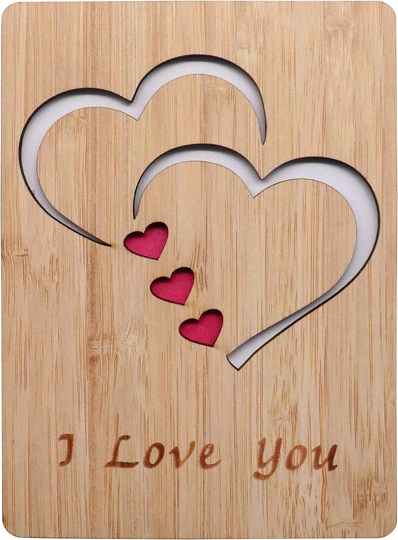 con scrittaI Love You per ogni occasione Biglietto di auguri in vero legno di bamb/ù lui o lei anniversario per San Valentino regalo per moglie o semplicemente perch/é
