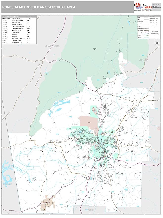 Amazon Com Marketmaps Rome Ga Metro Area Wall Map 2018 Zip