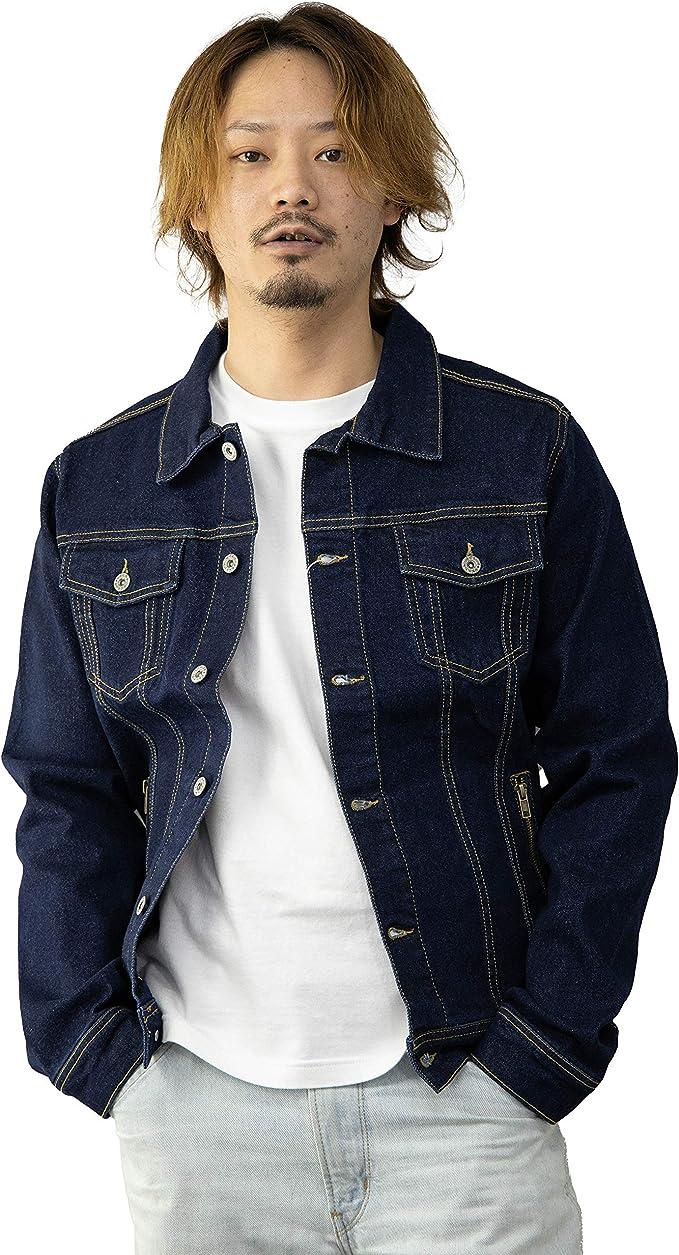 (サファリルーキー) SAFARI ROOKIE SAFARI ROOKIE デニムジャケット メンズ ストレッチ ZIPポケット 白 濃紺 紺 デニムトラッカージャケット Gジャン ワークジャケット 作業着 作業ブルゾン ジャケット カジュアル
