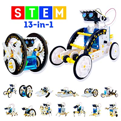 13-in-1 Stem Toys Educational Solar Robot Kit - 195PCS DIY Building Toys Science Kits for Kids Boys Girls Teens Age 8-12 & Older - Learning Engineering Robotics Kit with Motorized Engine & Gears: Toys & Games
