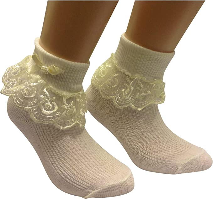 UK Baby Girls Turn Over Ankle Socks Frilly Bow School Stocking Up To 9 Years Old