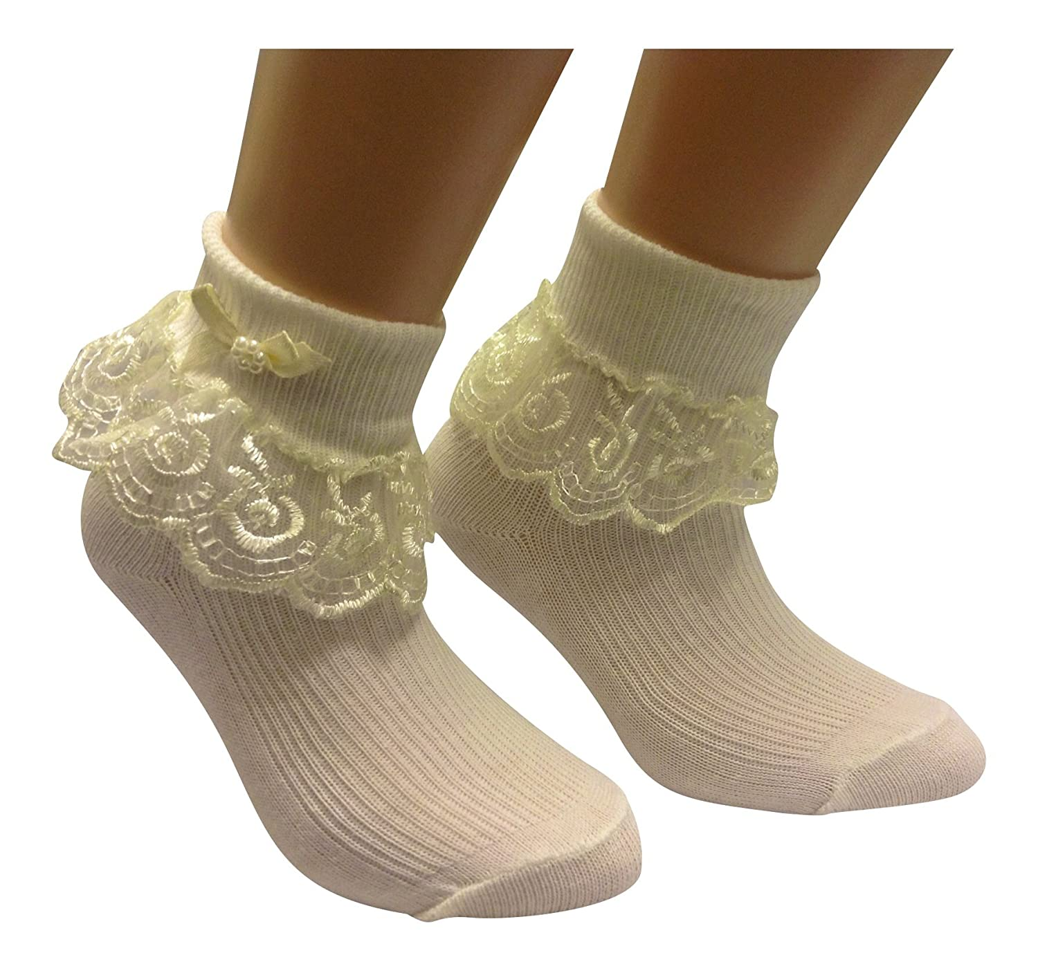 Girls & Baby 6 pairs of Cream Frilly Laced top Socks Fancy Bow with