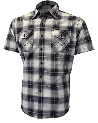 Enimay Mens Fitted Plaid Short Sleeve Button Down Shirt (Many ...