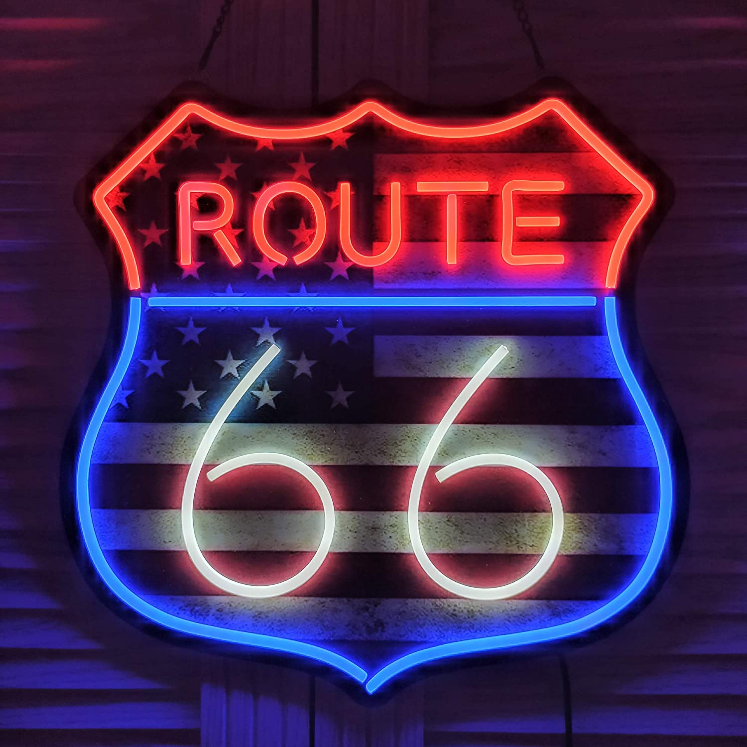 Ultrathin LED Neon Sign Art Wall Lights for Beer Bar Club Bedroom Windows Glass Hotel Pub Cafe Wedding Birthday Party Gifts (66 Route)