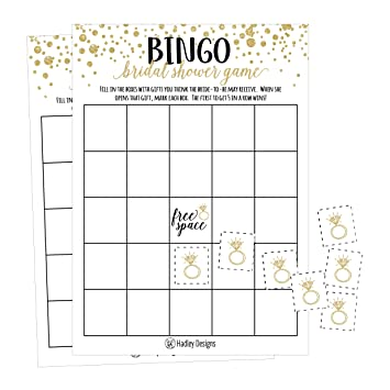 25 gold vintage bingo game cards for bridal wedding shower and bachelorette party bulk blank