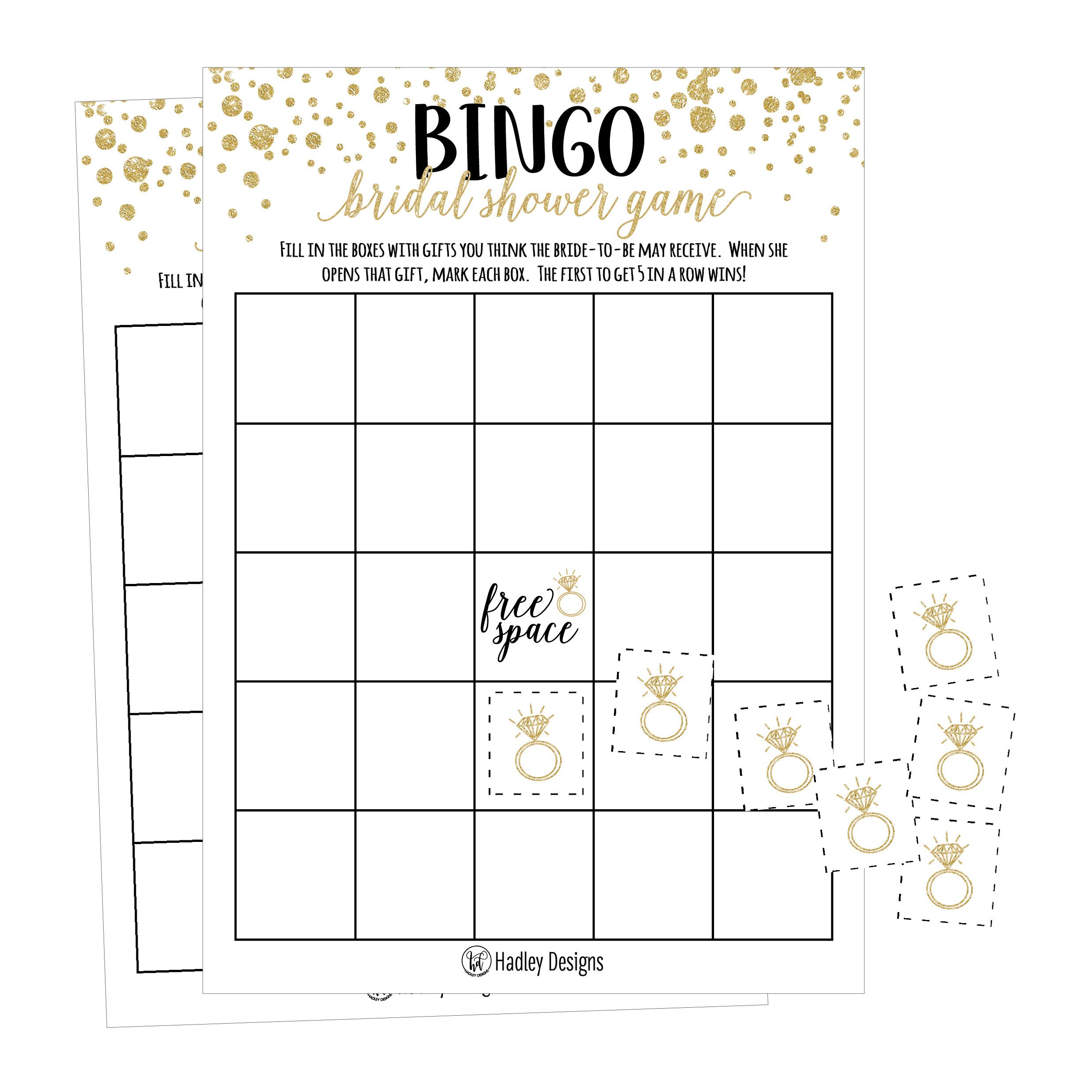 25 Gold Vintage Bingo Game Cards For Bridal Wedding Shower and Bachelorette Party, Bulk Blank Squares To Fill In Gift Ideas, Funny Supplies For Bride and Couple PLUS 25 Wedding Ring Bingo Chip Markers by Hadley Designs