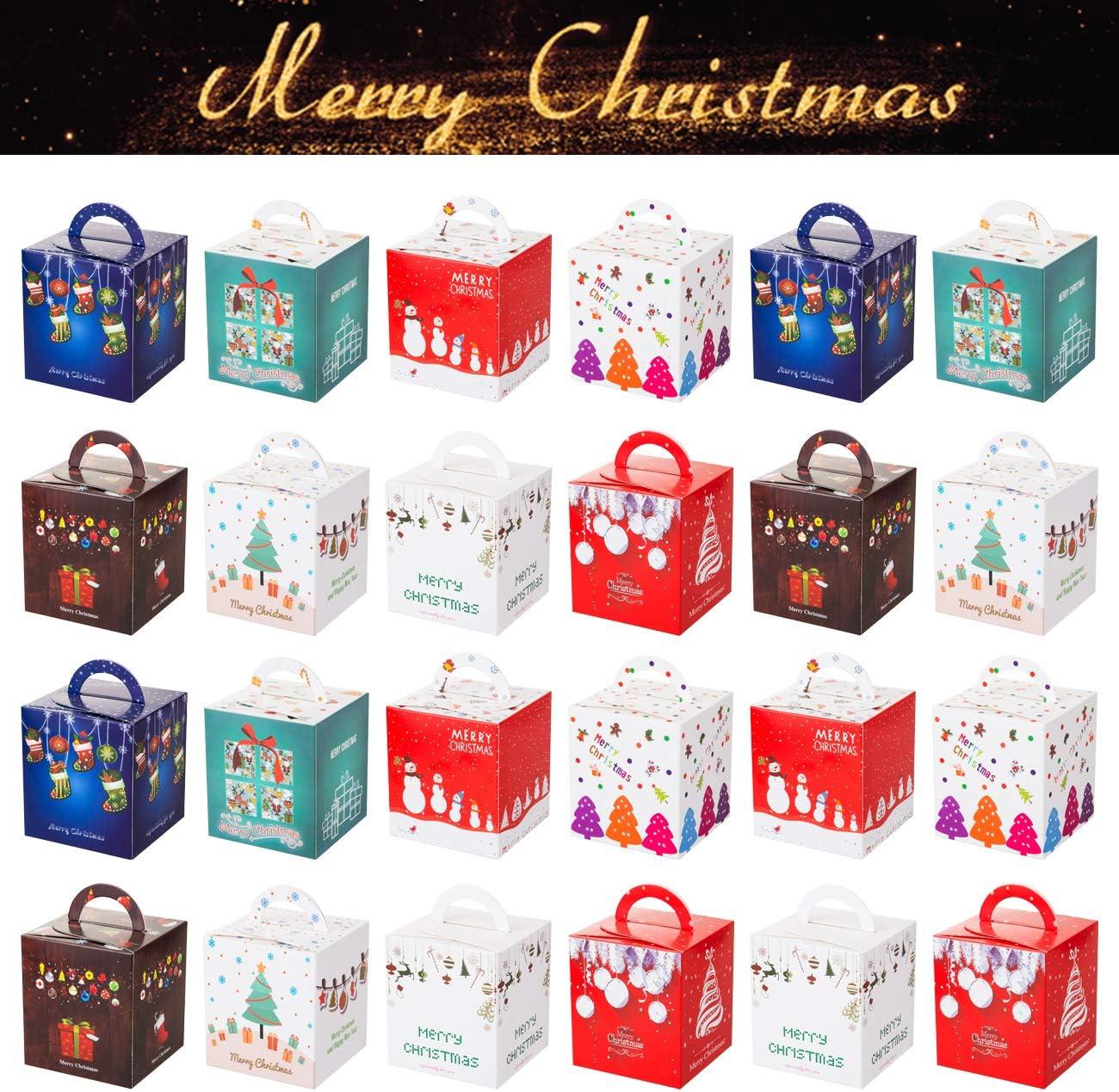 GWHOLE Set de 24 Navidad Cajas de Regalos Cajas para Galletas Dulces de Papel, Caja Cubo Temática Navidad con Asa: Amazon.es: Oficina y papelería