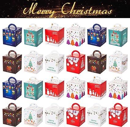 GWHOLE Set de 24 Navidad Cajas de Regalos Cajas para Galletas ...