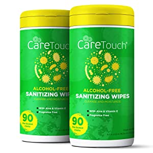 Care Touch Alcohol-Free Hand Sanitizing Wipes - 2 Canisters - 180 Moisturizing Wipes with Vitamin-E and Aloe Vera