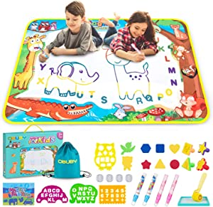 Obuby Aqua Magic Mat Kids Doodle Mats Water Drawing Writing Board Toy for Kid Toddler Animal Educational Painting Pad Toys for Age 3 4 5 6 7 8 9 10 11 12 Girls Boys Toddlers Gift 40 x 28 Inches