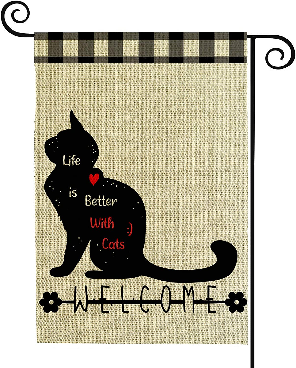 Valever Cat Garden Flag, Double Sided Welcome Fall Garden Flag for Outside 12 x 18 Inches