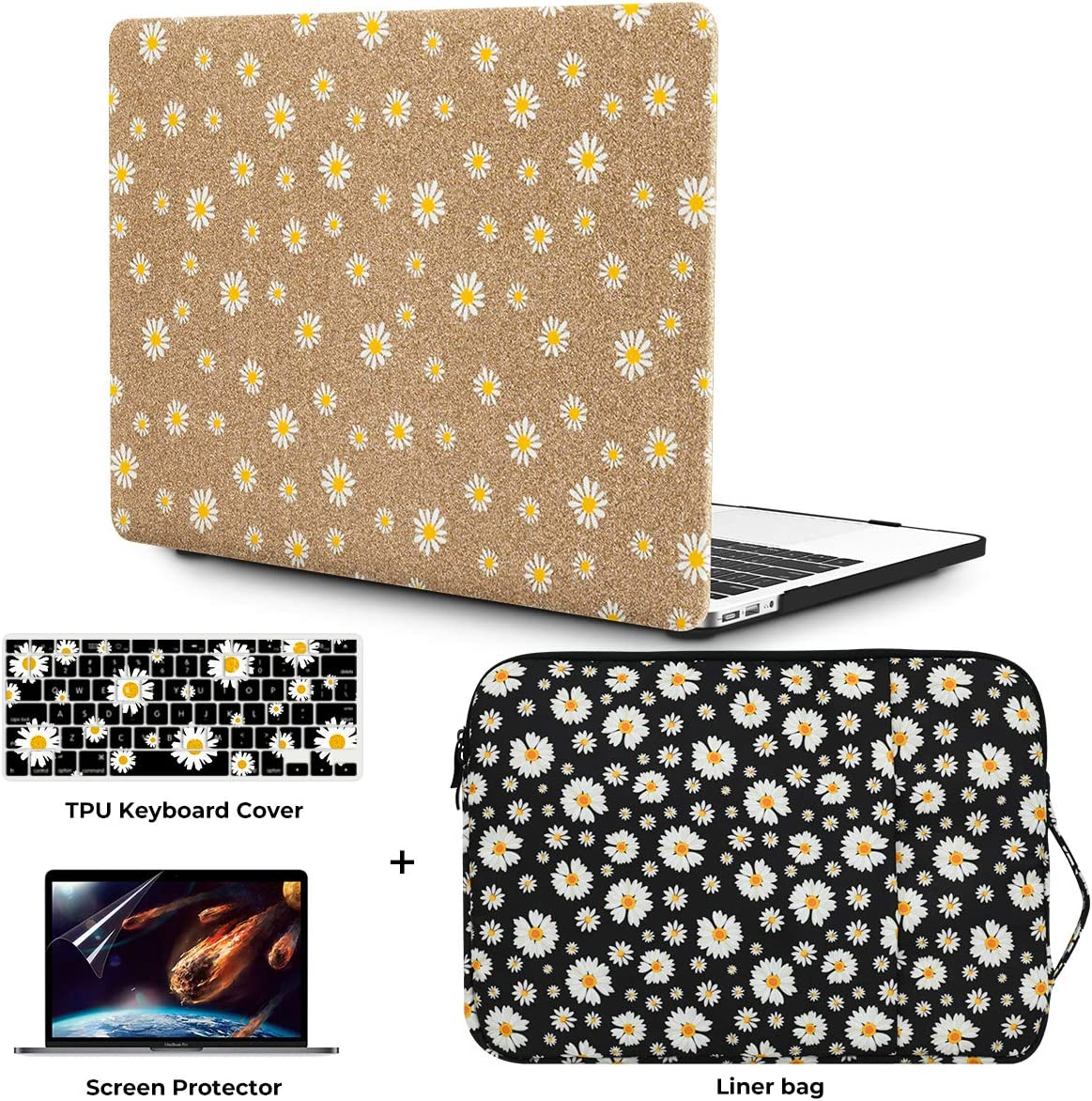 """OneGET Laptop Case for MacBook Air 13"""" Retina (2020 with Touch ID) w/Keyboard Cover+Flowers Sleeve+Screen Protector Leather Hard Shell Case A2179 4 in 1 Bundle (2020 A2179 Newest Air 13'', CP05)"""