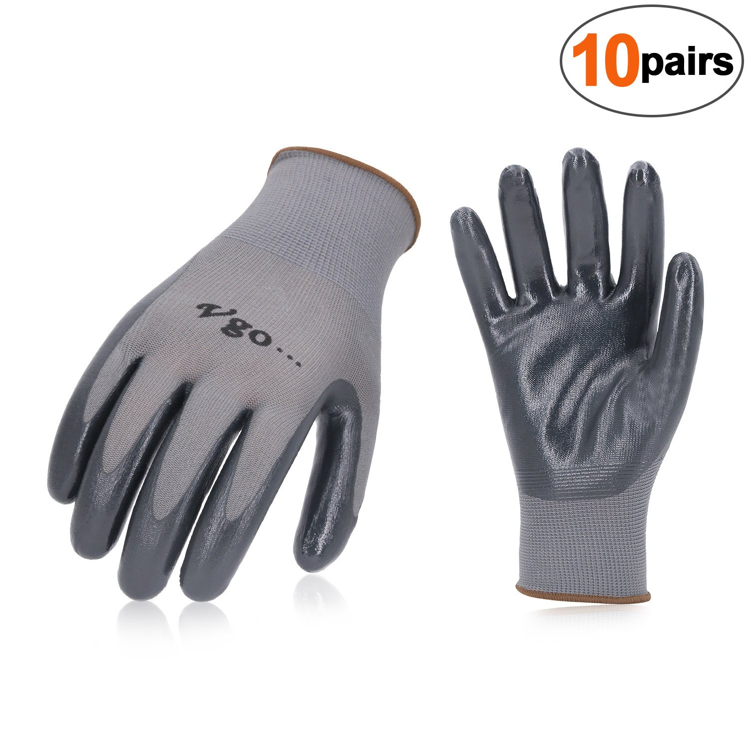 Vgo 10-Pairs Nitrile Coating Gardening and Work Gloves (Size M,Grey, NT2110)