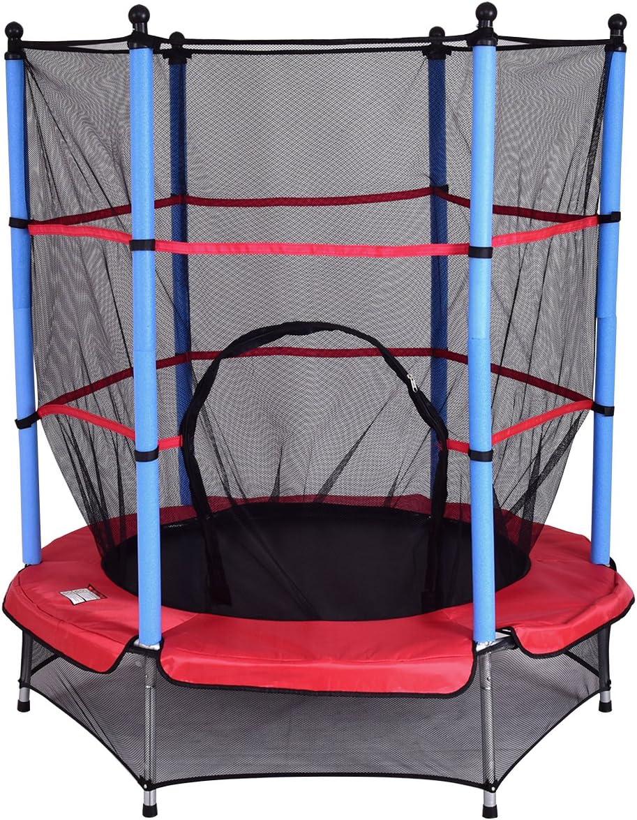 Costway Trampoline Enfant /Ø 140 cm avec Filet de Protection Trampoline Fitness Rond pour Exterieur Charge Max 50KG
