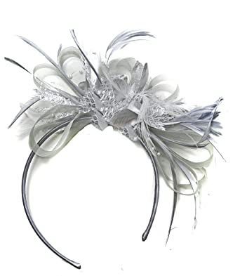 Silver Grey Net Hoop Feather Hair Fascinator Headband Wedding Royal Ascot  Races  Amazon.co.uk  Clothing 52ce32f855c