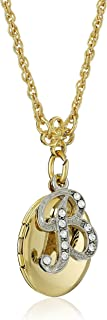 """product image for 1928 Jewelry Gold- and Silver-Tone Crystal Initial Locket Necklace, 16"""" + 3"""" Extender"""