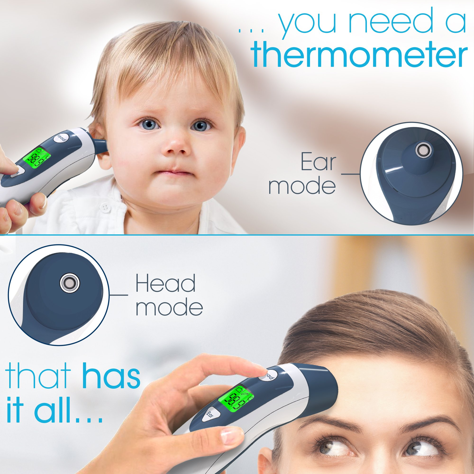 Baby Forehead Thermometer with Ear Function- iProven DMT489 Gray Cap - FDA and CE Approved - Clinical Accuracy Suitable for Baby, Infant, Toddler and Adults by iProvèn (Image #3)