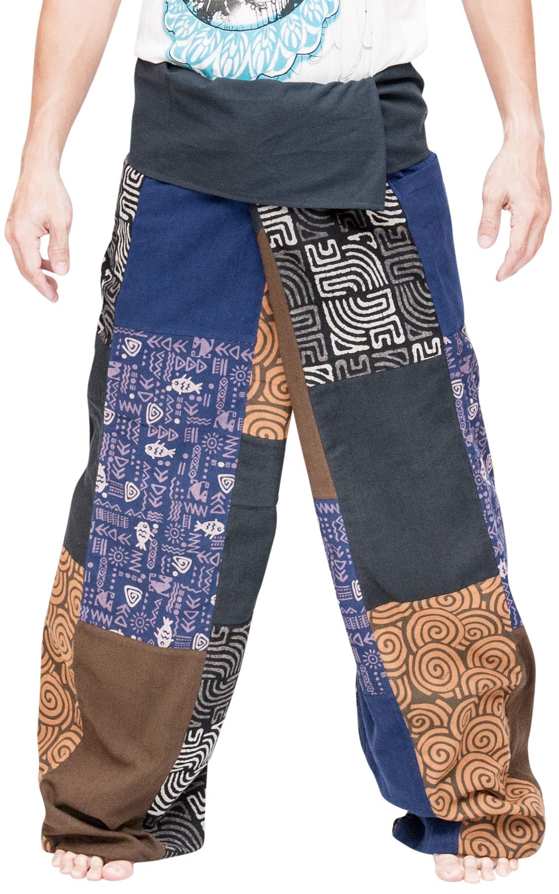 BohoHill Extra Long Unique Patchwork Thai Fisherman Pants Multicolor