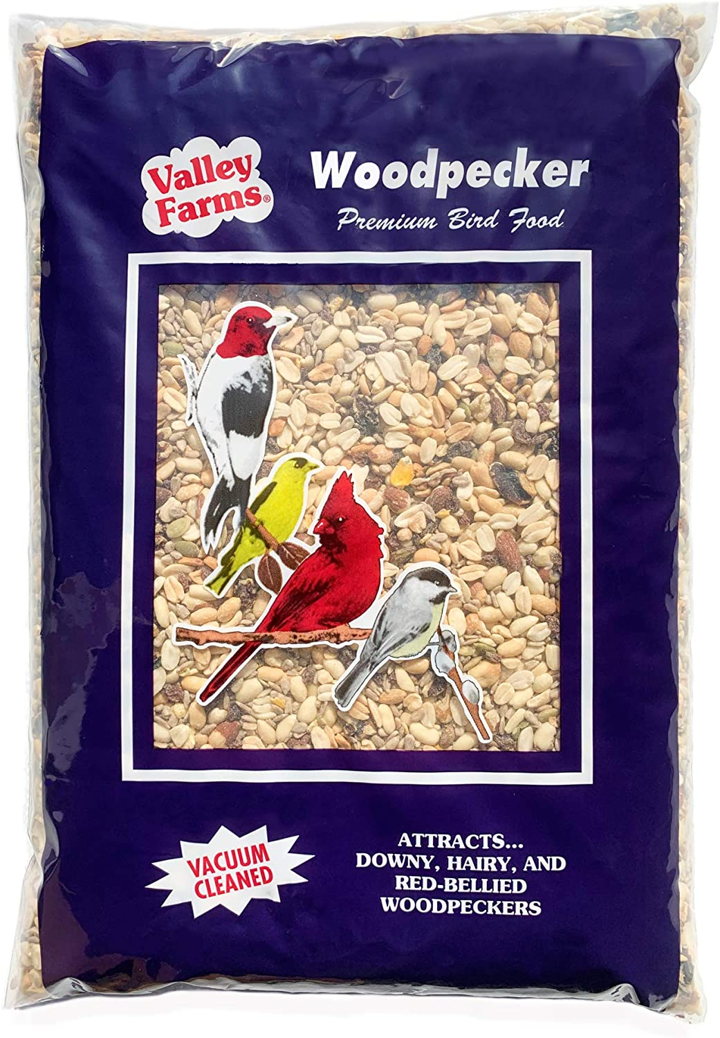 Valley Farms Woodpecker Mix - No Mess No Waste Wild Bird Food for attracting All Species! (4 LB)