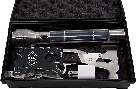 Kit de supervivencia de linterna solar premium con hacha multiherramienta, recargable, USB incluido, perfecto para padres, camping, senderismo, ...