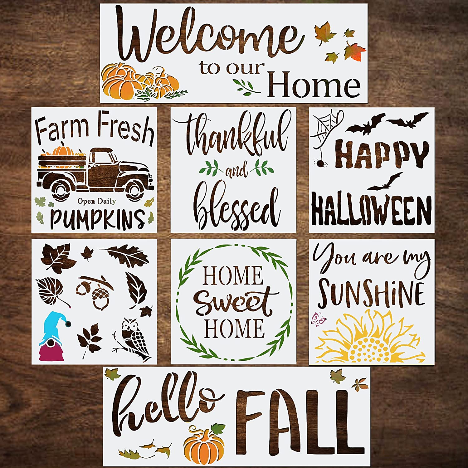 """Large Fall Stencils for Painting on Wood - 10""""x10"""" Home Sweet Home, Farm Fresh, Happy Halloween,Thankful & Blessed - Welcome & Hello Fall Stencil - Holiday & Thanksgiving Stencils - Reusable Stencils"""