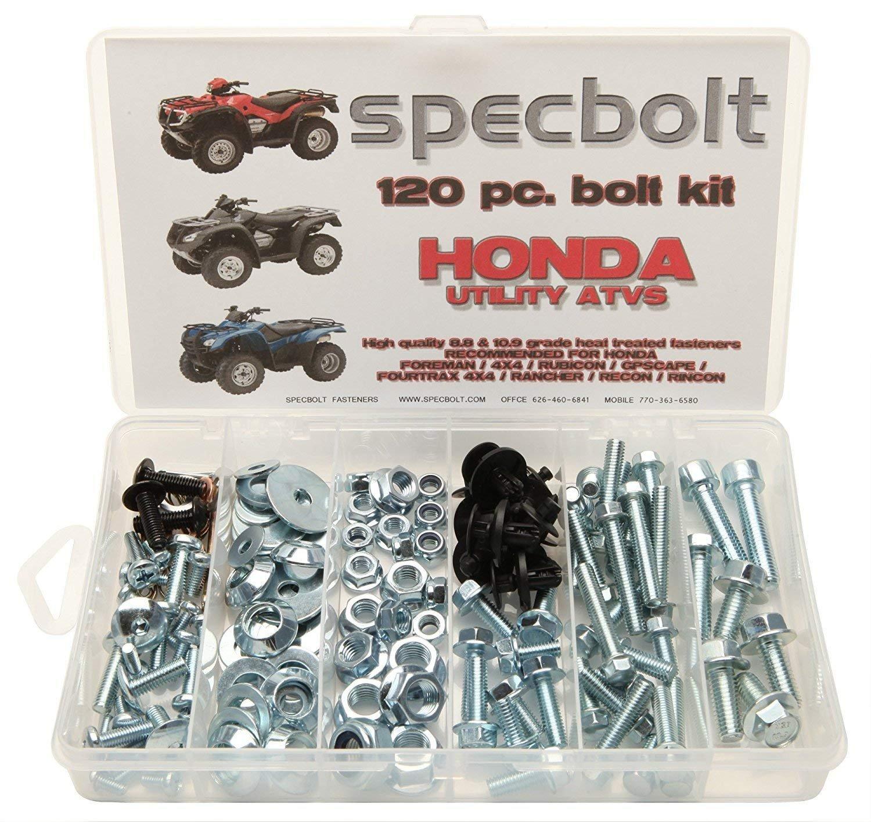Specbolt Fasteners 120pc Maintenance Restoration OE Spec Motorcycle Bolt Kit for Honda Utility ATV Quad Foreman 4x4 Rubicon GPScape Four Trax 4x4 Rancher Recon Rincon